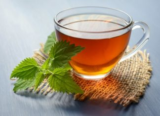 peppermint tea on teacup